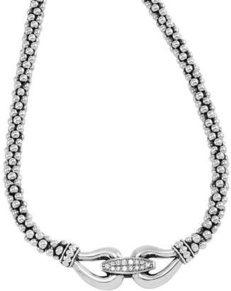 Lagos Derby Sterling Silver Necklace with Diamonds, 16""