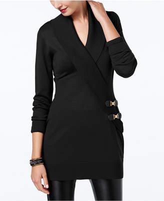 INC International Concepts I.n.c. Surplice Buckle Tunic Sweater