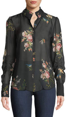 Joie Elzie Long-Sleeve Floral Silk Top