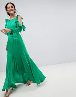 Asos Design Ruffle Sleeve Maxi Dress with Cold Shoulder