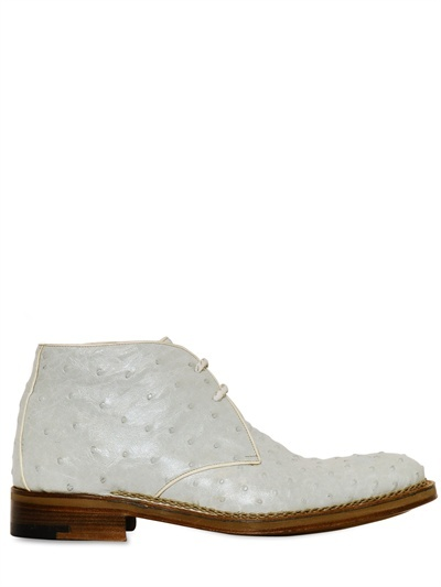 a. testoni Ostrich Leather Desert Boot