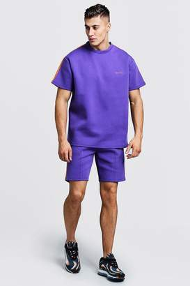 boohoo Scuba MAN T-Shirt & Short Set With Tape