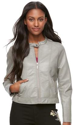 J 2 Juniors' J-2 Textured Crop Faux-Leather Jacket