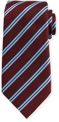 Ermenegildo Zegna Satin-Stripe Herringbone Tie, Wine $195 thestylecure.com