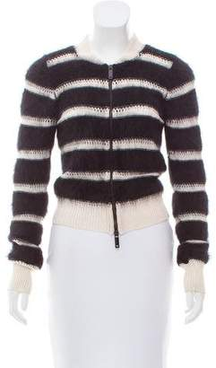 Emporio Armani Striped Zip-Up Cardigan