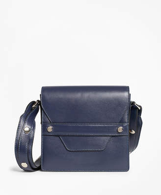 Brooks Brothers Leather Envelope-Flap Cross-body Bag