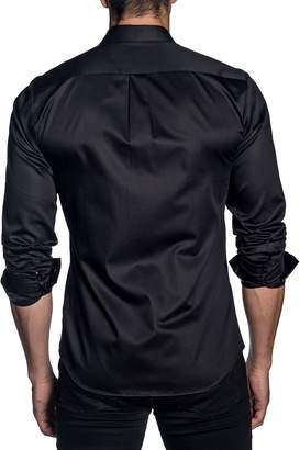Jared Lang Men's Modern-Fit Sateen Long-Sleeve Shirt with Contrast Cuffs