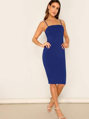 Shein Solid Form Fitted Cami Pencil Dress