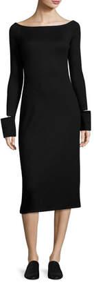 Helmut Lang Bateau-Neck Split-Off Cuffs Fitted Midi Dress, Black