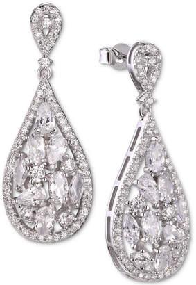 Tiara Cubic Zirconia Cluster Teardrop Drop Earrings in Sterling Silver