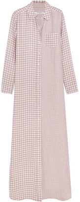 Equipment - Brett Gingham Washed-silk Maxi Dress - Antique rose $430 thestylecure.com