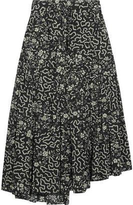 Isabel Marant - Grifol Printed Silk-blend Wrap Midi Skirt - Black $920 thestylecure.com