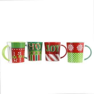 Gibson Home Holiday Wrap 4 Piece 15 oz. Assorted Funky Mug Set