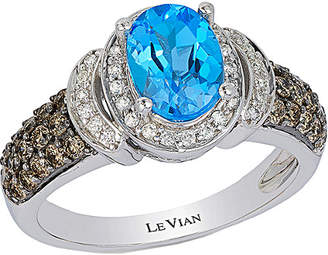 LeVian Le Vian Chocolatier 14K 1.90 Ct. Tw. Diamond & Blue Topaz Ring