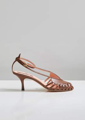 14460b3b0822b Rochas Kitten Heel Leather Sandals