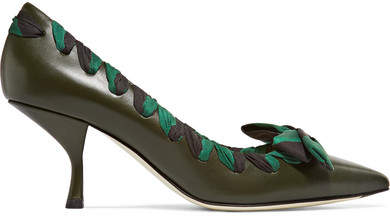 Fendi - Satin-trimmed Leather Pumps - Army green