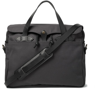 Filson Original Leather-Trimmed Twill Briefcase - Men - Gray