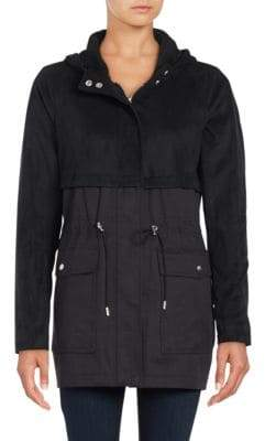 Vince Camuto Hooded Faux Suede Anorak Jacket