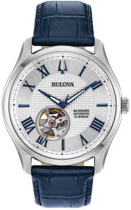Bulova Men's Automatic Wilton Blue Leather Strap Watch 42mm