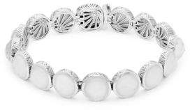 Stephen Dweck Small Carved White Mother-of-Pearl, Crystal Quartz and Sterling Silver Bracelet