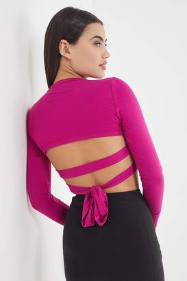 Urban Outfitters Tie-Back Long Sleeve Cropped Top