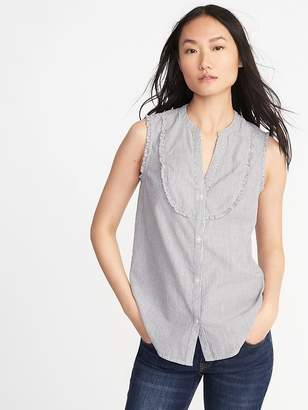 Old Navy Sleeveless Ruffle-Trim Metallic-Stripe Blouse for Women