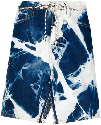 Aries bleach effect denim skirt