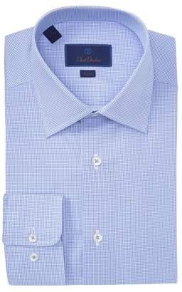 David Donahue Geo Print Trim Fit Dress Shirt