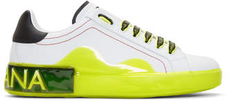 Dolce & Gabbana White and Yellow Portofino Melt Sneakers