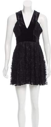 A.L.C. Velvet-Trimmed Lace Dress w/ Tags