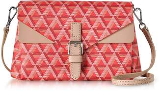 Ikon Lancaster Paris Red & Nude Coated Canvas and Leather Mini Clutch
