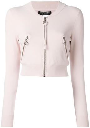 Twin-Set cropped zipped cardigan $168.42 thestylecure.com