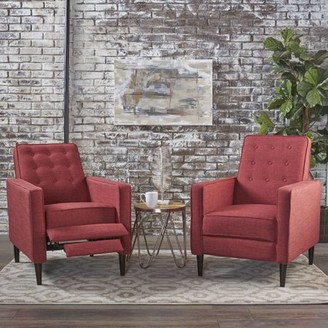 Noble House Mercury Mid Century Modern Fabric Recliner,Red