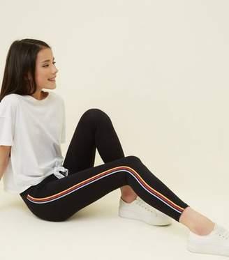 New Look Teens Black Rainbow Stripe Side Leggings