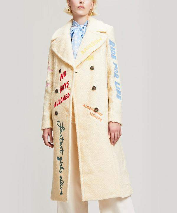 Faux Shearling Embroidered Coat
