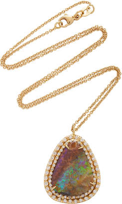Kimberly McDonald One-Of-A-Kind Boulder Opal Pendant With Diamonds Set In 18K Yellow Gold