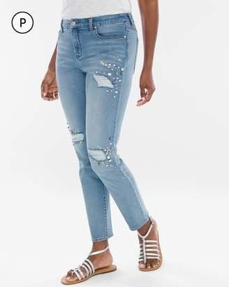 So Slimming Petite Pearl-Embellished Girlfriend Ankle Jeans