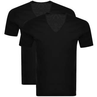 Calvin Klein 2 Pack V Neck T Shirts Black