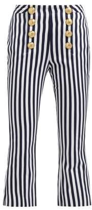 Balmain Striped Cotton Twill Kick Flare Trousers - Womens - Navy White