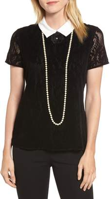 Karl Lagerfeld PARIS Lace Knit Pearly Necklace Top