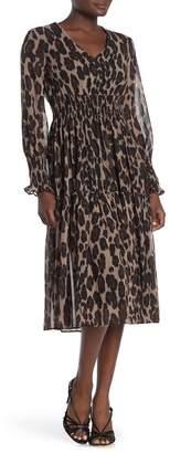 Taylor Animal Printed Smocked Midi Dress