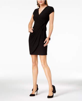 INC International Concepts I.n.c. Cap-Sleeve Faux-Wrap Dress