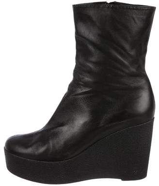 Clergerie Leather Wedge Ankle Boots