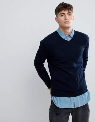 Esprit V-Neck Cashmere Mix Sweater In Navy