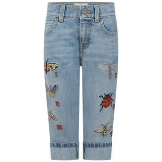 Gucci GUCCIGirls Blue Embroidered Jeans
