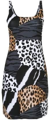 Moschino patched animal print beach dress