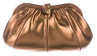 Judith Leiber Embellished Metallic Leather Clutch