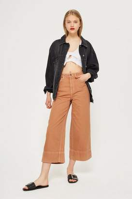 Topshop Tobacco Cropped Wide Leg Jeans