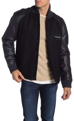 Modern American Designer Varsity Wool Blend & Leather Sleeve Jacket