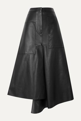 Tibi Tissue Asymmetric Leather Midi Skirt - Black